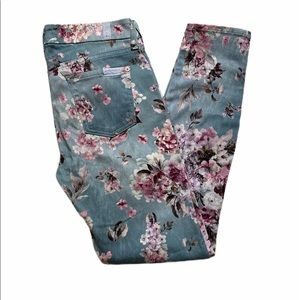 7 For All Mankind Floral Skinny Ankle Jean